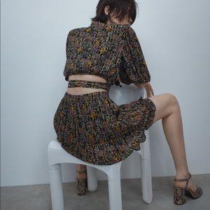ZARA Floral Print Skirt + Top Set